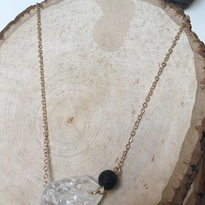 Jewelry - Clear Quartz Crystal & Lava Bead Diffuser Necklace